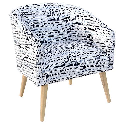 Leah Barrel Accent Chair, Robin Blue
