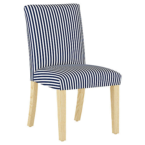 Shannon Side Chair, Navy Stripe Linen