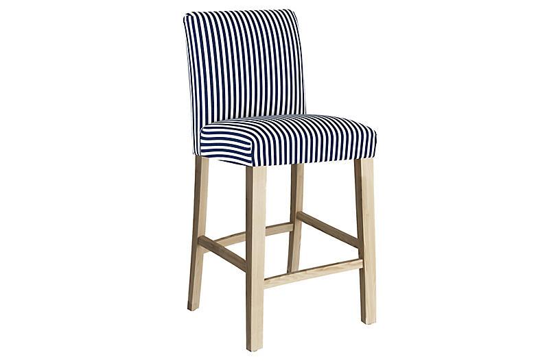 Shannon Barstool, Navy Stripe Linen