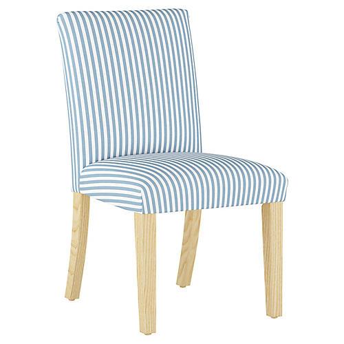 Shannon Side Chair, Blue Stripe Linen
