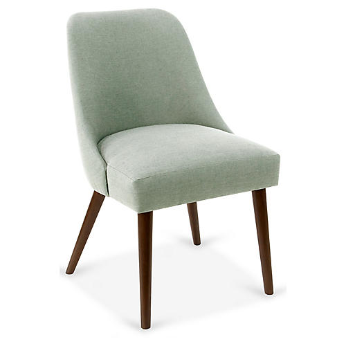 Barron Side Chair, Mint Linen