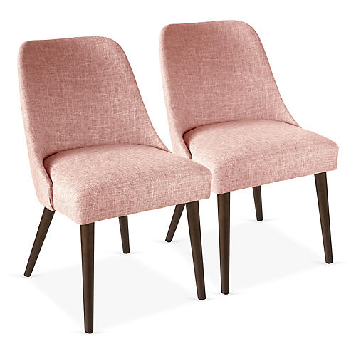 S/2 Barron Side Chairs, Blush