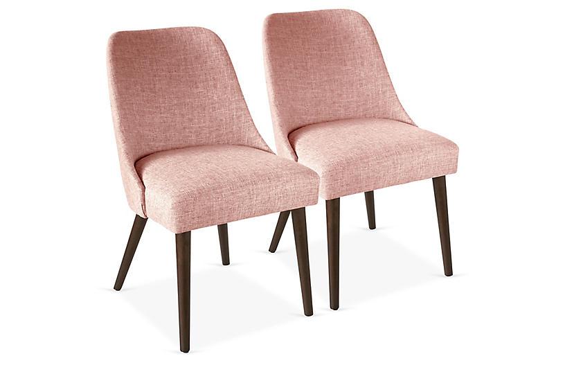 S/2 Barron Side Chairs, Blush