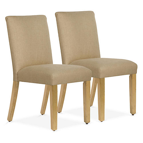 S/2 Shannon Side Chairs, Sand Linen
