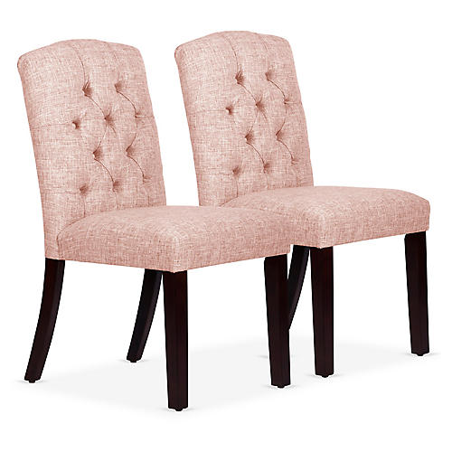 S/2 Lea Tufted Side Chairs, Blush