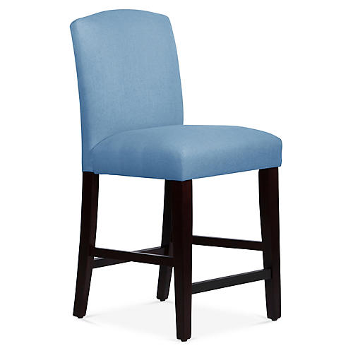 Marie Counter Stool, French Blue Linen