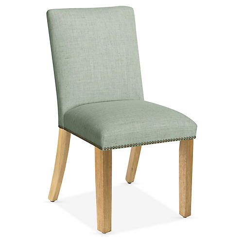 Kean Side Chair, Mint Linen
