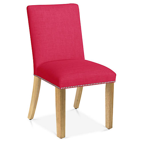Kean Side Chair, Fuchsia Linen