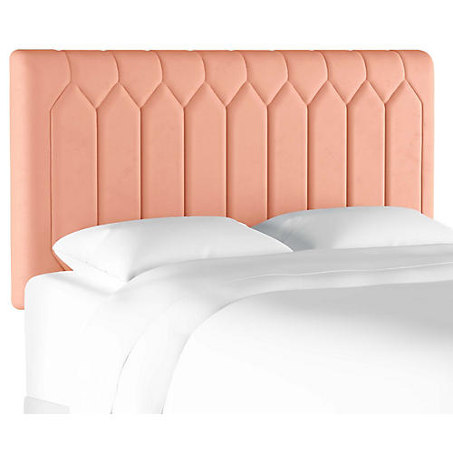 Catherine Tufted Headboard, Blush Velvet