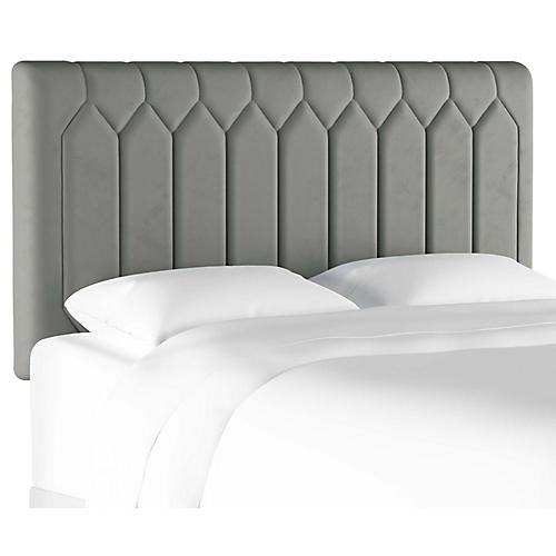 Catherine Tufted Headboard, Steel Gray Velvet