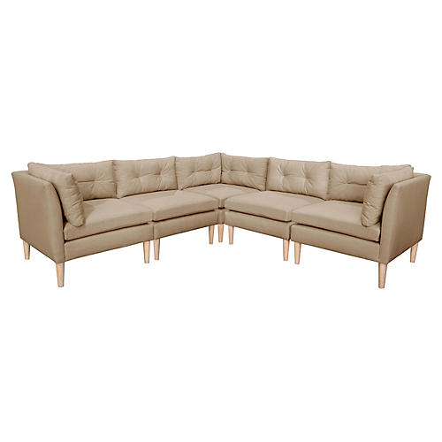 Madeline L-Shaped Sectional, Sand Linen