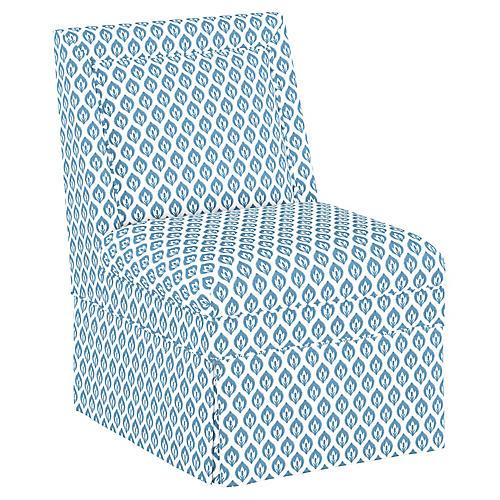 Greer Skirted Slipper Chair, Chambray Blue