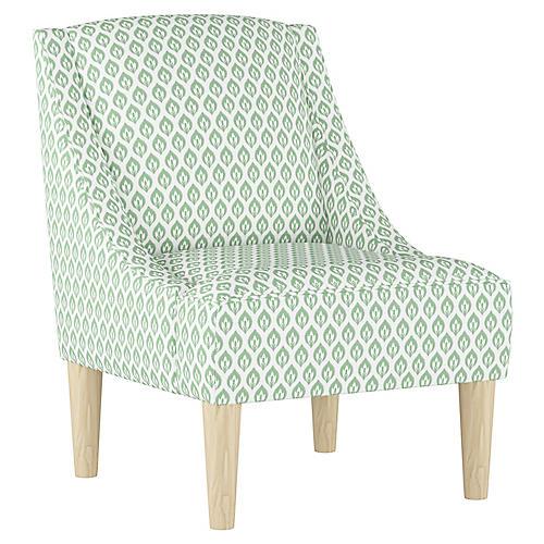 Quinn Swoop-Arm Accent Chair, Sage Floral Linen