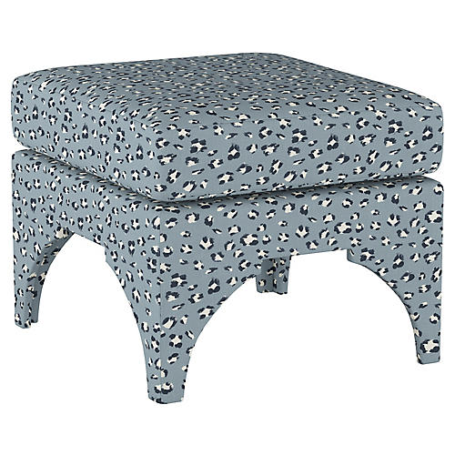 Maude Pillow-Top Ottoman, Blue Cheetah Linen