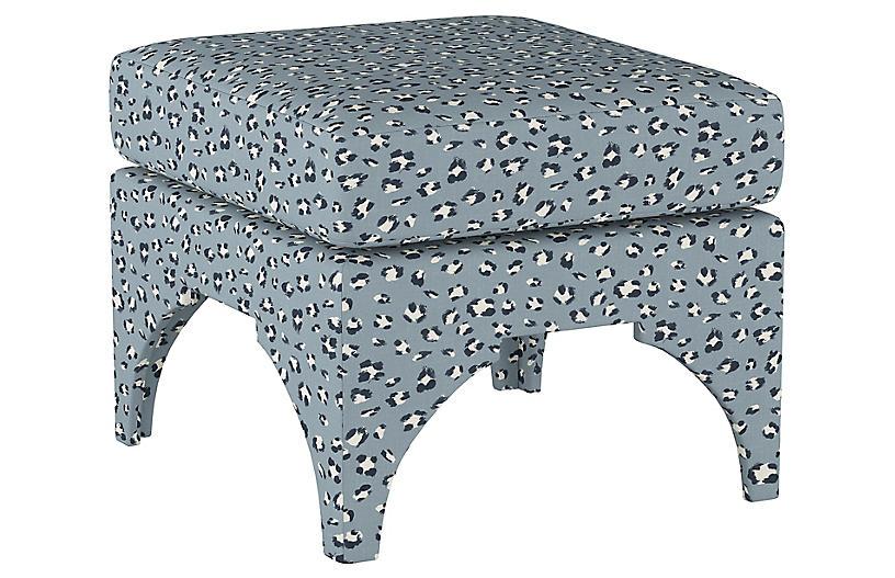 Maude Pillow-Top Ottoman, Blue Cheetah Linen