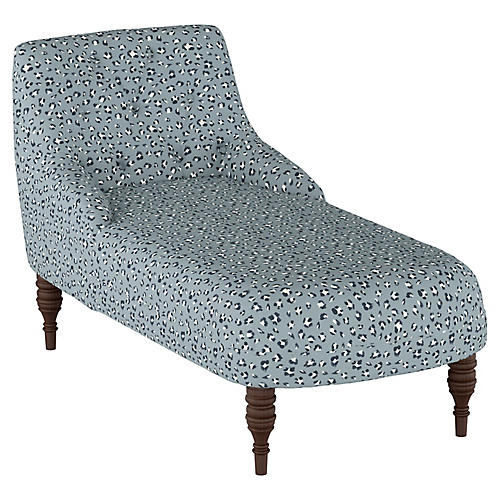 Lillian Tufted Chaise, Dusty Blue/Navy/White