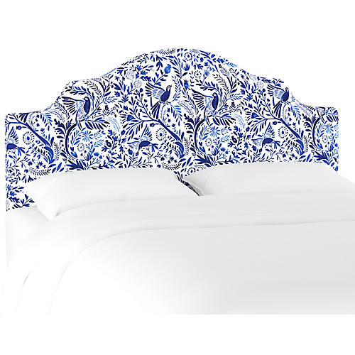 Natalie Notched Headboard, Blue/White