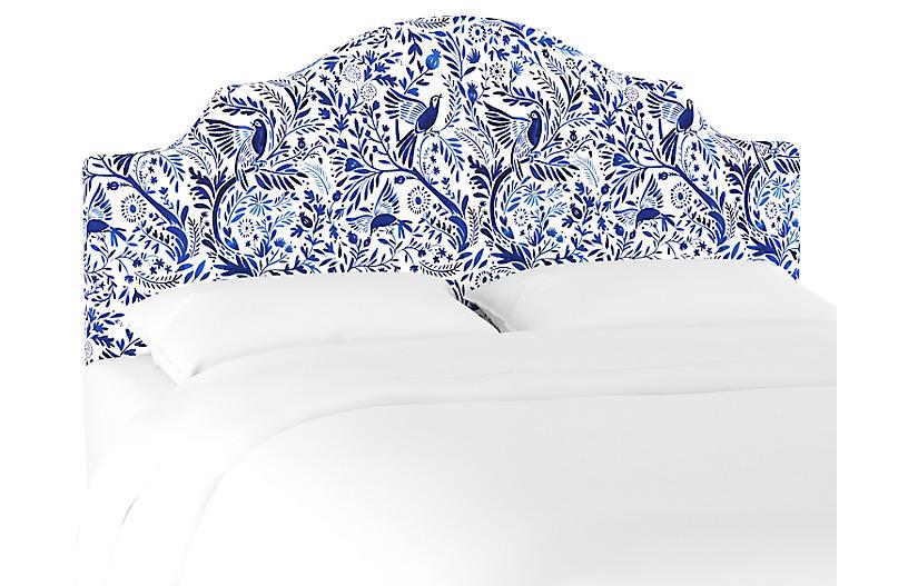 Natalie Notched Headboard, Blue/White