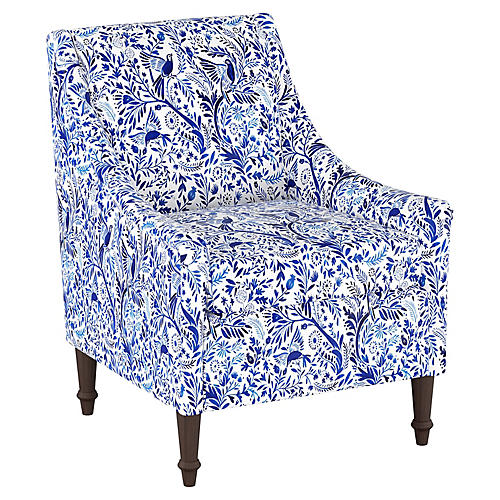 Holmes Accent Chair, Blue/White Linen