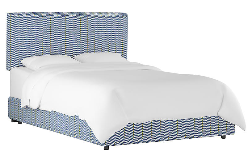 Novak Bed, Navy Herringbone Linen