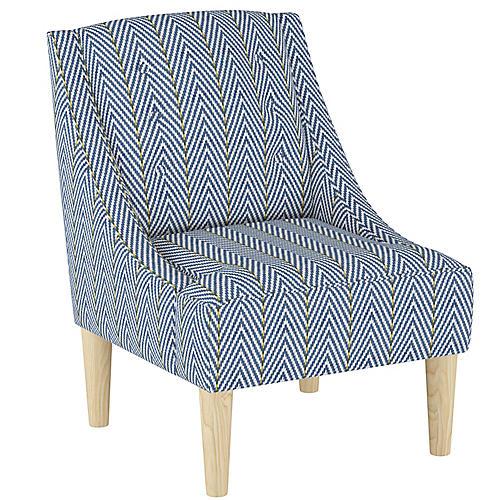 McCarthy Swoop-Arm Chair, Navy Chevron Linen