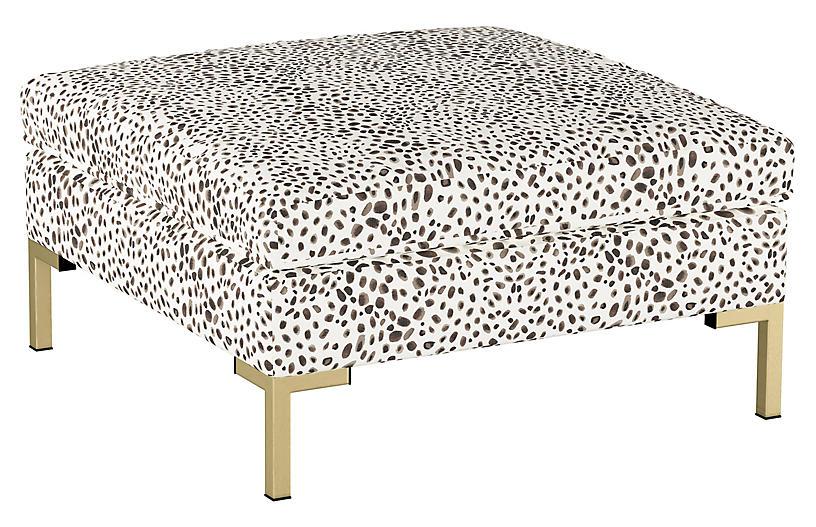 Marceau Ottoman, Cream Cheetah Linen