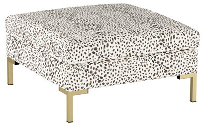 Marceau Ottoman Cream Cheetah Linen One Kings Lane