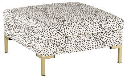 Marceau Ottoman Cream Cheetah Linen One Kings Lane