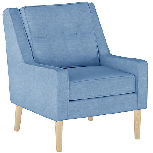 Shara Accent Chair, French Blue Linen