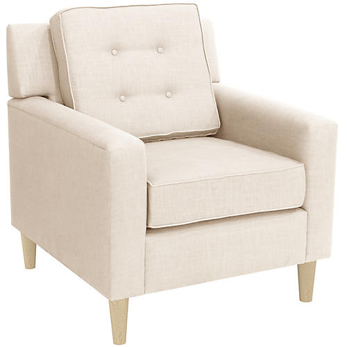 Winston Club Chair, Talc Linen