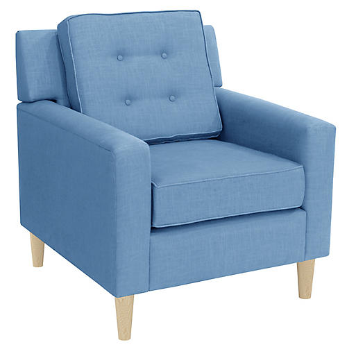 Winston Club Chair, French Blue Linen