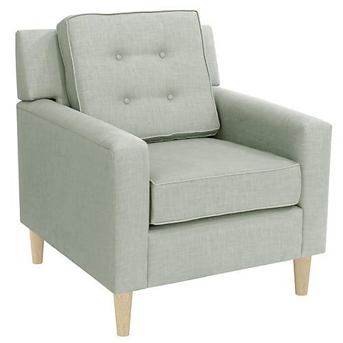 Winston Club Chair, Mint Linen