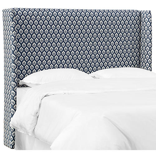 Kelly Wingback Headboard, Navy Floral