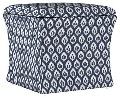 Incredible Maria Storage Ottoman Navy Floral Spiritservingveterans Wood Chair Design Ideas Spiritservingveteransorg