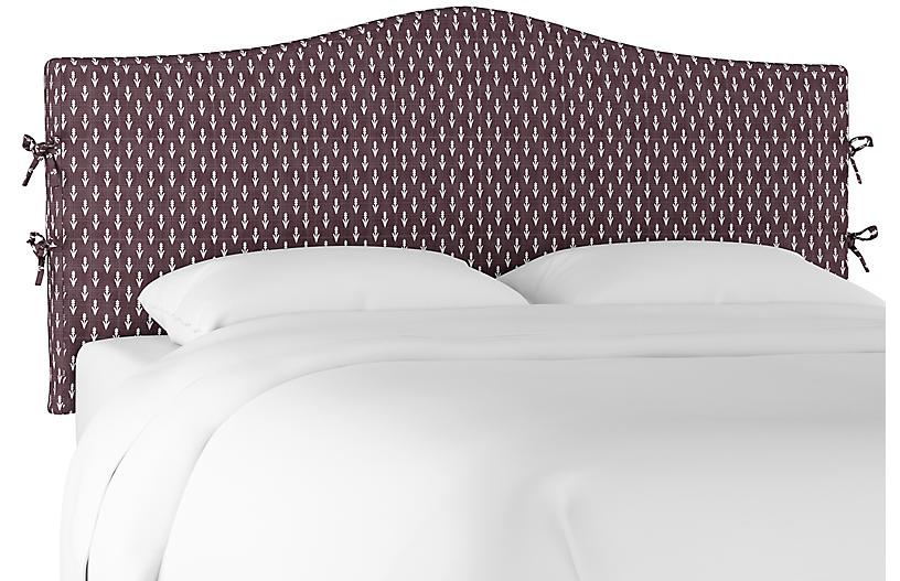 Eloise Slipcover Headboard, Plum/White