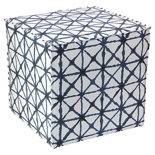 Astair French Seam Cube Ottoman, Indigo/White
