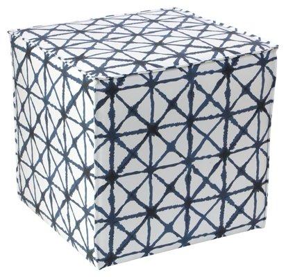 Fine Astair French Seam Cube Ottoman Indigo White Inzonedesignstudio Interior Chair Design Inzonedesignstudiocom