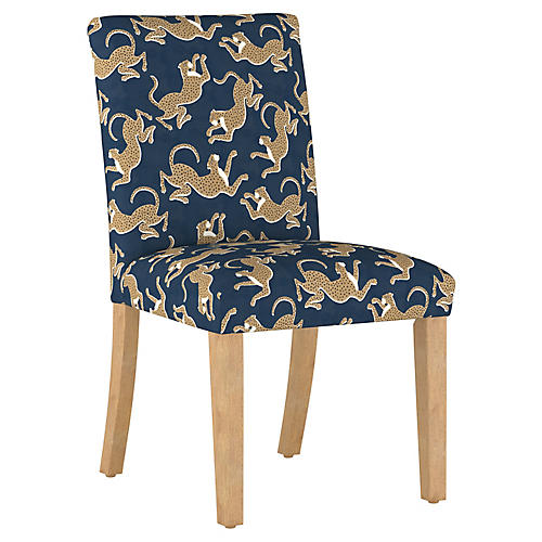 Shannon Side Chair, Navy Leopard