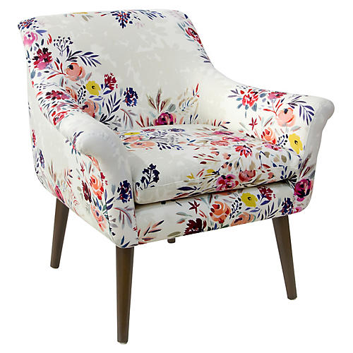 Harmon Accent Chair, Watercolor Floral