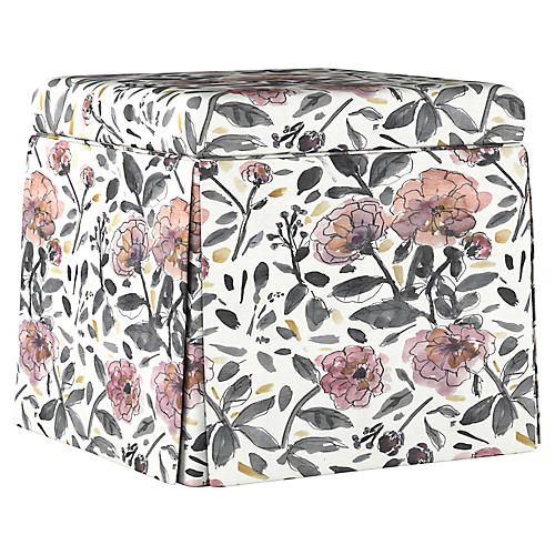 Anne Skirted Storage Ottoman, Violet/Gray Floral