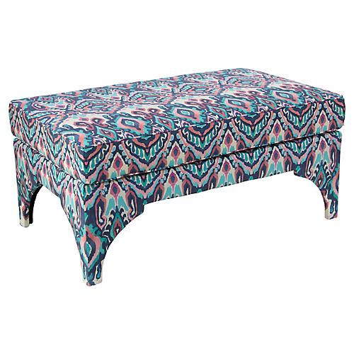 Maude Pillow-Top Bench, Cerulean/Pink