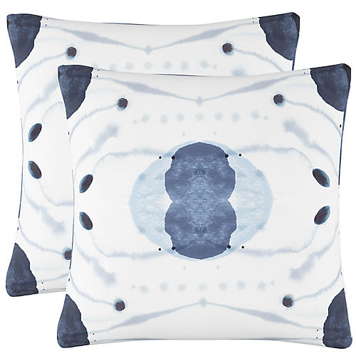 S/2 Aatto Pillows, Blue/White Linen