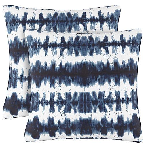 S/2 Obu Stripe Pillows, Navy/White Linen