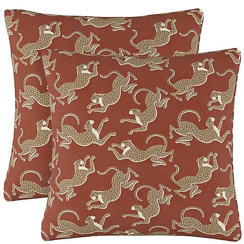 S/2 Leopard Run Pillows, Burnt Sienna Linen