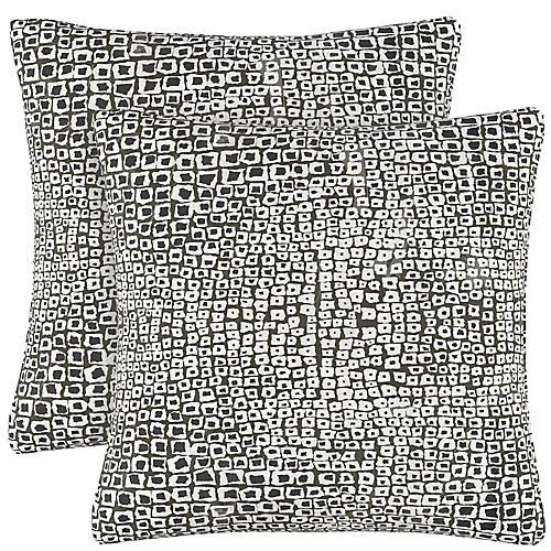 S/2 Tiles Ink Pillows, Black/White Linen
