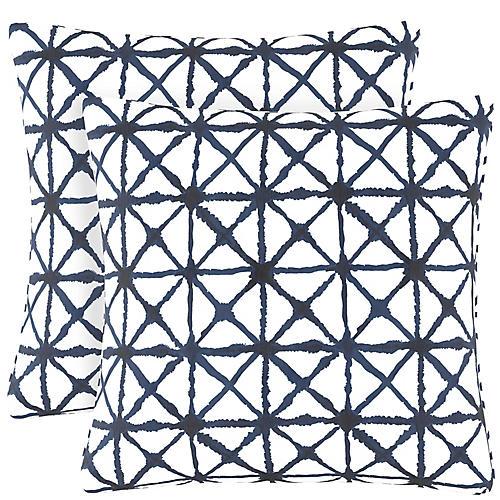 S/2 Watercolor Cross Pillows, Navy/White Linen
