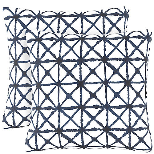 S/2 Watercolor Cross Pillows, Navy/White Linen