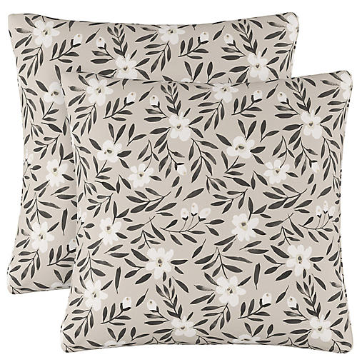 S/2 Lola Floral Pillows, Natural Linen