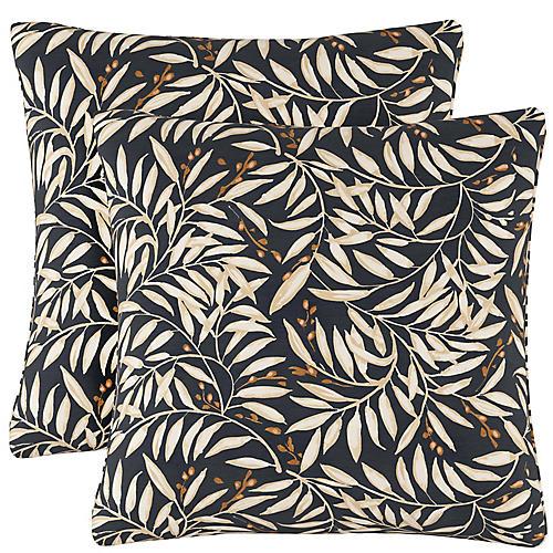 S/2 Voysey Vine Pillows, Navy/Cream Linen