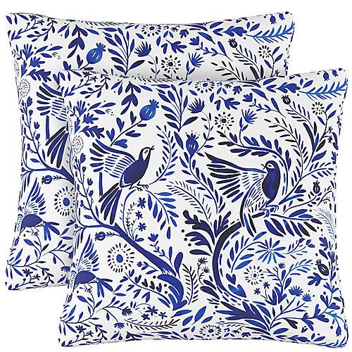 S/2 Oiseau Jardin Pillows, Indigo Linen